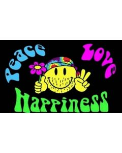 Peace, Love and Happiness Satin Flag (15x22cm)